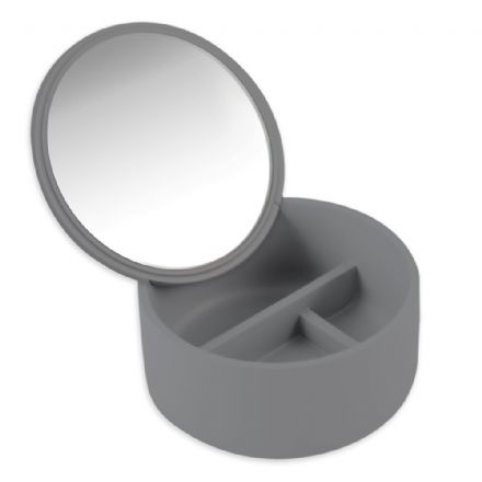Cosmetic Mirror with Storage Box Grey